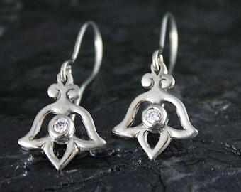 Diamond Tulip Dangle Earrings in 14k White Gold