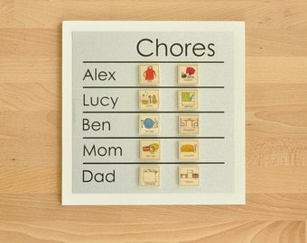 Family Chore Chart + 6 magnets - 9 x 9 magnetic, personalized chore board with 2-5 names