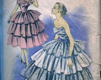 RARE  Advance Pattern 5901 - GLAM Strapless Dress and Petticoat  Evening Ball Gown w/ Tiers, Flounce, Off Shoulder - Bust 32
