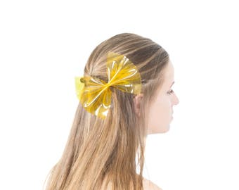 50% OFF Pasta Bow Hair Clip Oversized Hair Accessories Clear Yellow Vinyl Quirky