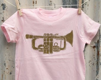 New Orleans Trumpet Kids Tee shirt, American Apparel, Screen Printed, Toddler Tee, Pink clothing, Kids clothing, Holiday Gift, Louisiana