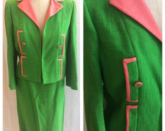 1960s 1950s Green and Pink Watermelon Jackie O Suit, Young America by Oleg Cassini
