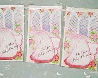3 Vintage Baby Girl Cards. Vintage Christening Cards. New Old Stock. Blank Card. Baby Card. Evelopes. Paper Ephemera. Vintage Card Lot.