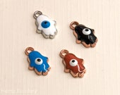Hamsa Charms, Rose Gold, 10pcs, 10x7mm,  Mixed Colors, Alloy  Enamel   Charms -C800