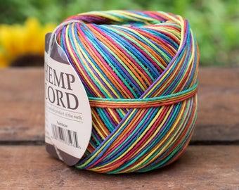 Rainbow Hemp Twine, 1mm,   Macrame Cord, Jewelry Cord,   400 Feet, Hemp Cord   -T93