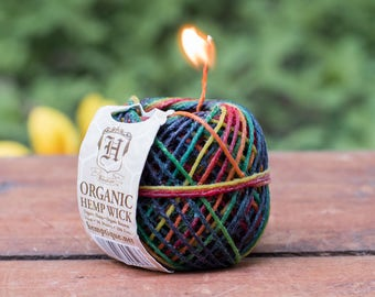 Waxed Hemp Twine, 1mm, 20lb, Beeswax Twine, Candle Wick, 100 Feet, Rainbow