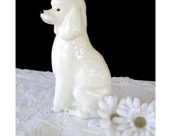 White Poodle Figurine * LOMONOSOV Porcelain * USSR * Poodle Dog Decor