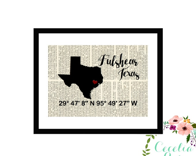 Fulshear Texas Custom Coordinates Latitude Longitude Book Page Art Box Framed or Print Farmhouse Style