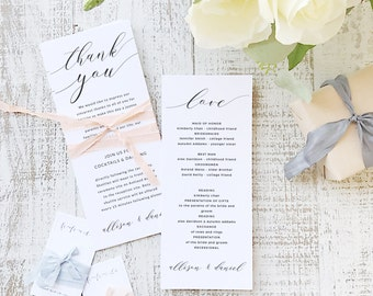 Instant Printable Wedding Program Template | INSTANT DOWNLOAD | Modern Script | Flat Tea Length | Editable Colors | Mac or PC | Word & Pages