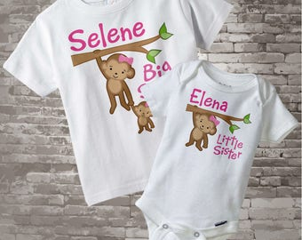 Big Sister Little Sister Outfits, Shirt set of 2, Sibling Shirt, Personalized Tshirt with Cute Monkeys - Price is for both items 01022014b