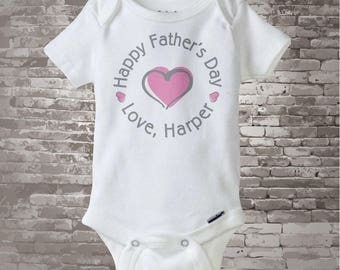 Happy Father's Day Onesie,  New Dad Gift, Personalized Fathers Day Onesie or Tee shirt with Pink Heart (03112014b)