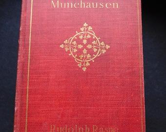 Baron Munchausen by Rudolph Raspe - Antique Edwardian Edition, Scarlet Cloth, Gilt Decorated