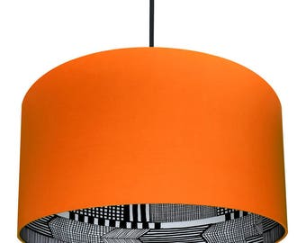 Tangerine Orange Marimekko Handmade Silhouette Lampshades