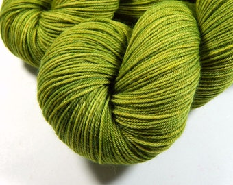 Hand Dyed Yarn - Sock Weight 4 Ply Superwash Merino Wool Yarn - Lettuce Tonal - Fingering Knitting Yarn, Yellow Green Lime Indie Dyed Yarn