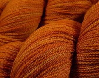 Hand Dyed Yarn - Lace Weight Superwash Merino Wool Yarn - Copper - Knitting Yarn, Tonal Orange, Artisan Hand Dyed Lace Yarn, Indie Dyed