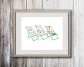 Art print Deck chairs, The Deck Trio art print, watercolor print, deck chairs art, coastal art, beach cottage art, nautical, home decor, art