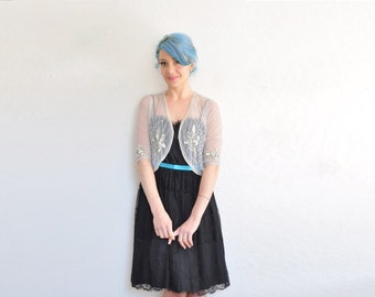 pastel ice blue sparkle bridal bolero . 1920 style sheer wedding cover up .extra small.xs .sale