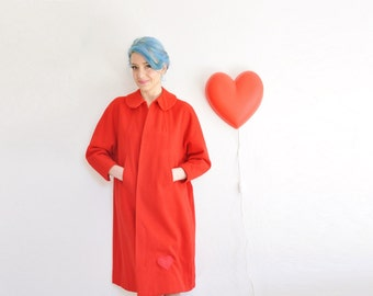 mod peter pan collar swing coat . red valentine heart patch . geez louise .small.medium.large .sale