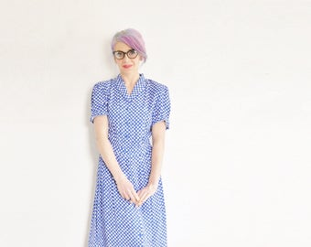 1940 style industrial typist dress . bright blue novelty typewriter key print .small.medium