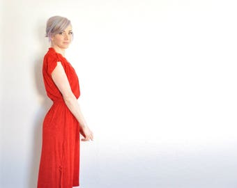 retro red valentine dress . 1970 terry cloth frock . matching sash .small.medium