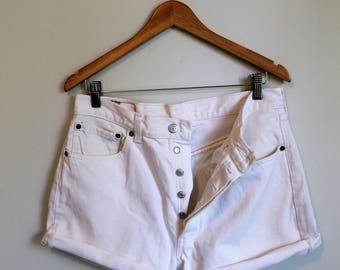 Levi's Jean Shorts, Button Fly Cut Offs, Levi's 501 Shorts, White Jean Shorts, High Rise, 33 Waist, Levi's Jeans, White Levi's 501, Medium