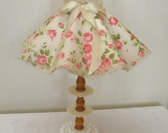 Vintage Milk Glass Lamp with Floral Ruffled Shade