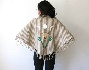 Cattle Skull Poncho / Southwestern Cactus Shawl / Striped Wool Capelet