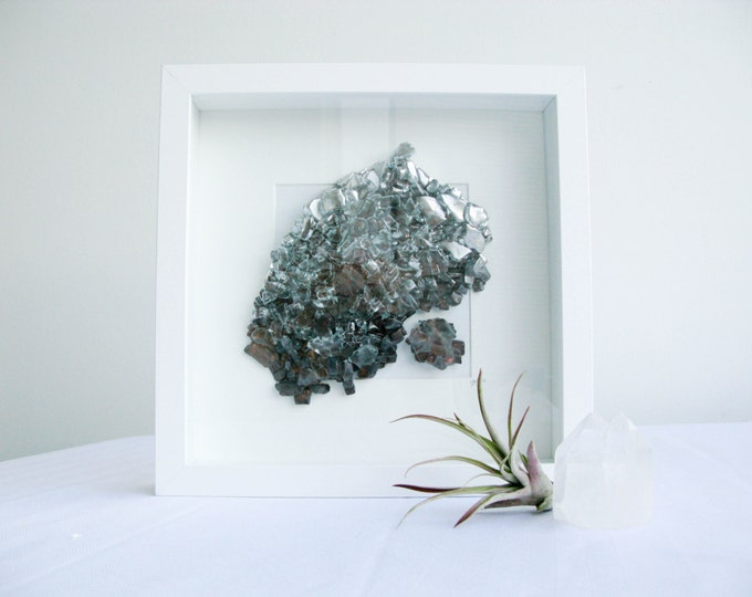 Copper, gold and dark grey B - Crystal geode decor, Abstract Wall Art, Housewarming gift, Glass Wall hanging, Recycled glass art, Boho Decor