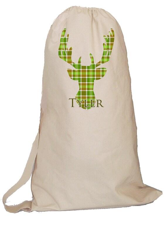 Men's Laundry Bag, Personalized Laundry bag, monogrammed laundry totebag, boy's summer camp bag, monogrammed backpack, plaid deer design