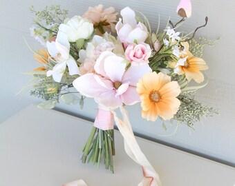 Boho Pastel Wedding Bouquet | Light Peach and Blush Pink | Lush Bohemian Style Bridal Bouquet | SG-1004