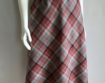 Vintage Women's 80's Plaid Wool Blend Skirt, A Line, Knee Length by Maiden San Francisco (S)