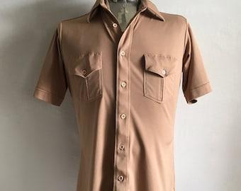 Vintage Men's 70's Tan Shirt, Short Sleeve, Button Down by Mervyn's (M)