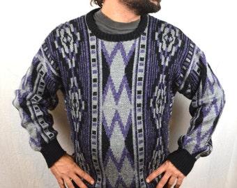 Vintage 80s 90s Geometric Purple Gray Black Southwest Pulllover Sweater