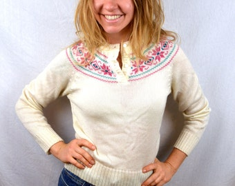 Vintage 1980s 80s Winter Acrylic Knit Sweater
