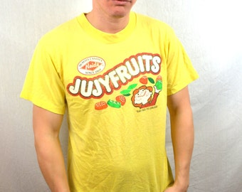 Vintage 80s 90s Yellow Jujy Fruits Candy Tee Shirt Tshirt - Say No to Drugs
