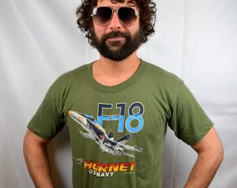 Vintage 80s F-18 Horney USA Navy Tee Shirt Tshirt