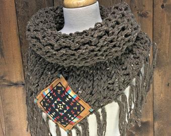 Crochet Triangle Tube Scarf with Fringe - MOONWAKE - Vibe Tribe