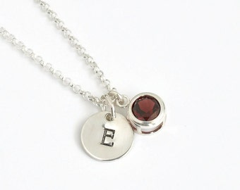 January Birthstone and Initial Necklace Sterling Silver / Personalized Birthstone Jewelry / Initial Necklace with Birthstone Garnet