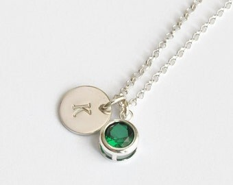 May Birthstone and Initial Necklace Sterling Silver / Personalized Birthstone Jewelry / Initial Necklace with Simulated Emerald