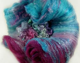 Raspberry Turquoise Wild Card Bling Batt for spinning and felting (4.1 ounces), batt, art batt