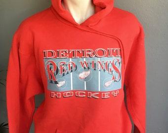 Detroit Red Wings 1980s vintage hoodie sweatshirt - red size XXL