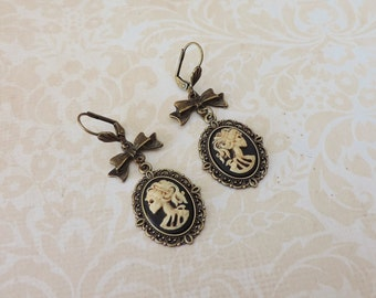 Lady skull cameo earrings -skeleton cameo -dangles- -Skull jewelry- gothic steampunk jewelry - gothic victorian-gothic cameo
