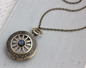 Kyanite Pocket Watch Necklace. Gift for her under 30 usd.
