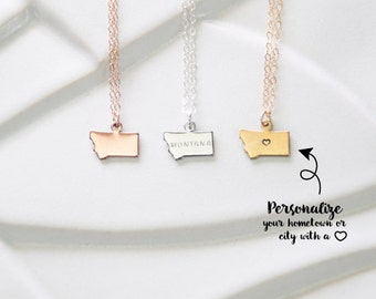 Small Montana Necklace, State Charm Necklace, Rose Gold Montana State Jewelry, State Necklaces Montana Pendant, Montana State Bracelet Charm