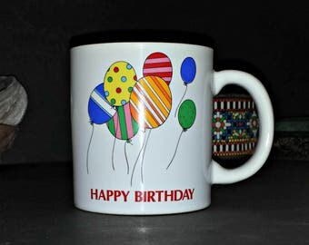 Happy Birthday Balloons Mug / Happy Birthday Mug with Balloons / Brightly Colored Balloons Happy Birthday Mug