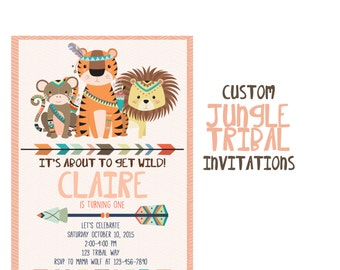 Jungle Party Invitation, Custom Tribal Animal Birthday Party, Arrow 5x7 Birthday Invitations, 1st Birthday Invite