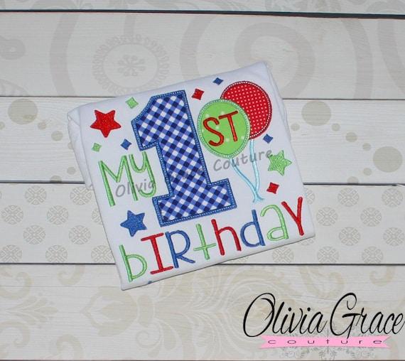 Balloon First Birthday Shirt Girls 1st Boys Embroidered Bodysuit Or