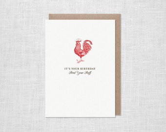 Letterpress Rooster Birthday Card