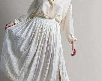 Vintage 80s White Linen Full Skirt / Pleated Midi Skirt / 2 XS