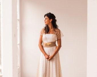 Beige wedding dress with polka dots, Rustic wedding gown, beige tulle wedding dress, polka dots wedding dress with tulle, beige gown